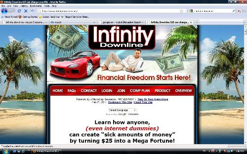 Infinity Downline mainpage - Infinity Downline, a website that claimed to be a MLM marketing website which provides sustainable income for its members. It also claim to have many successful members throughout the world that work on this programme full time.