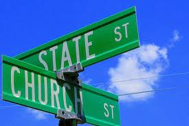 church and state always at crossroads - a sign detailing the impossibility of church and state togetherness!