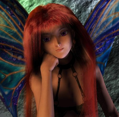 Mauvey - Fairy - Mauvey is a fiesty little fairy that is a character from a series of novels that I am working on.   Picture created using Poser 7 3D modeling software and Corel Painter Essentials software.