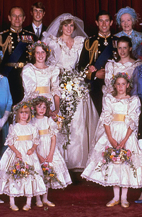 Diana's bridesmaids - This is a photo taken after Diana married Prince Charles with all her bridesmaids!