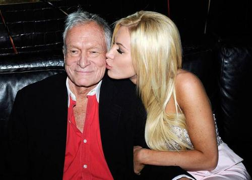 Hugh Hefner and Finace - Hugh is 85 now and plans to wed his 24 old girlfriend in June of this year! She has to be gold digger!
