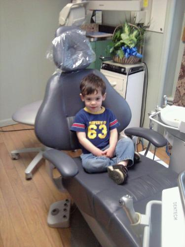 My youngest at the dentist - Mathieu ready for the dentist!