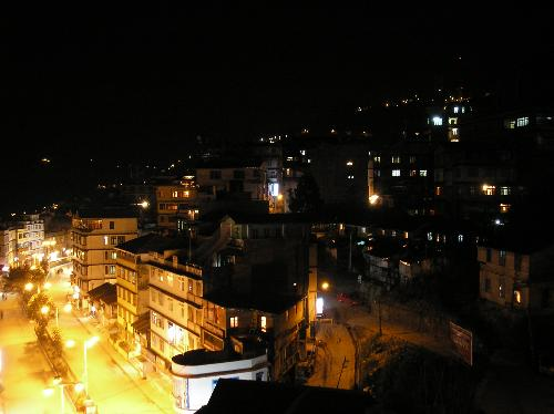 gangtok at night - gangtok Mal from hotel balcony.