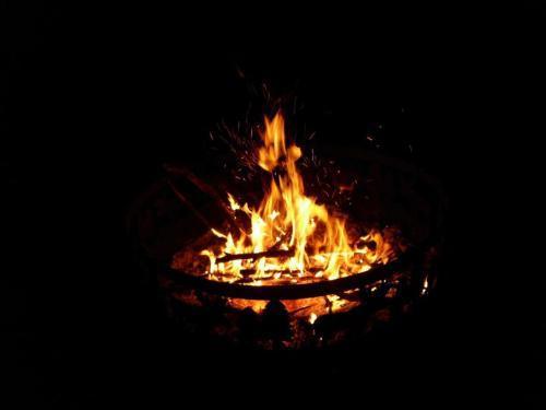 Bonfire - A bonfire in the backyard.