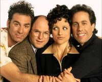 Cast of Seinfeld - Kramer,George,Elaine and Jerry.