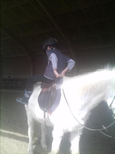 My older son turning on the horse. - This is a way to build up trust with a horse.