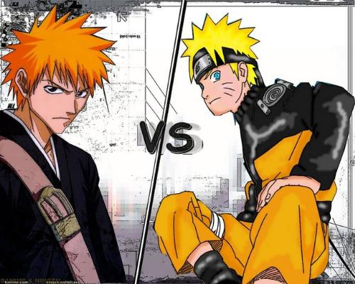 Naruto vs Bleach - A picture of Uzumaki Naruto (Naruto Shippuden) and Kurosaki Ichigo (Bleach) seemingly in versus mode. I do not intend to let this two fight each other however, I just want to have a consensus regarding people's opinion whether who is more interesting: Naruto or Ichigo?