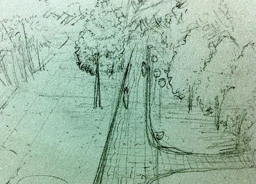 another landscape sketch - it was a beautiful day and the sky was bright...it is an opening in a park