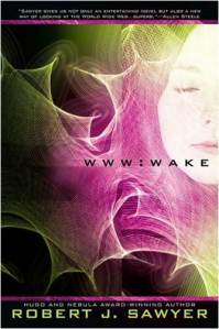 Wake - Wake is a novel by Canadian science fiction author Robert J. Sawyer. It features Caitlin Decter, a previously blind girl who gains the ability to see, an emerging intelligence within the Internet, and the sudden ability of a monkey named Hobo to perform abstract thought. The first of the WWW trilogy.
