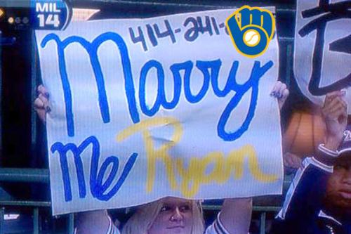 She wants to marry Ryan Braun! - This woman was at the Milwaukee Brewers last night with a sign saying :Marry Me Ryan Braun' on it. Not just that,the bimbo put her phone number on the sign! The bimbo got tons of phone calls! So many it felled her phone's voice mail box! What a moron!