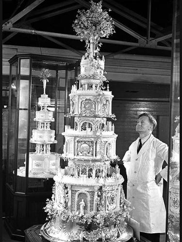 The Queen mum's - When Queen Elizabeth's mum Elizabeth married Prince Albert,who later became King George,this was their wedding cake.! Quite a sight it was!