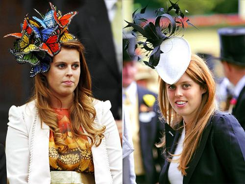 They are called hats? - Princeess Beatrice looks like a swarn of butterfies are stuck on her head,on the left! On the right it looks like she has a hood oranent on! These are not hats! No way in heck!
