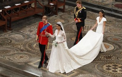 William and Kate - William and Kate leaving the church as husband and wife.