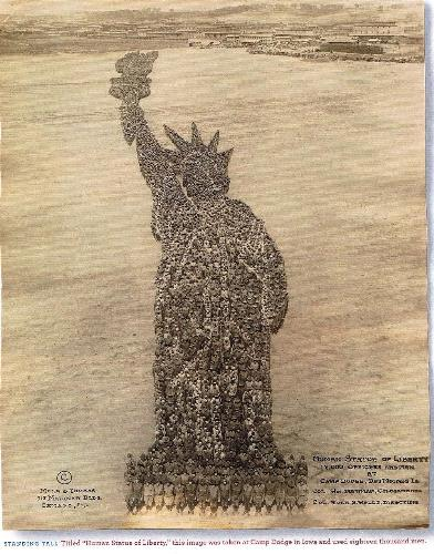 Statue of liberty (18000 men) - I find it amazing that this photo, taken so many years ago, actually still exists! And now, someone has put it on line for all of us to see. This INCREDIBLE picture was taken in 1918.  It is 18,000 men preparing for war in a training camp at Camp Dodge, in Iowa .  EIGHTEEN THOUSAND MEN!!!!!  What a priceless gift from our grandfathers!