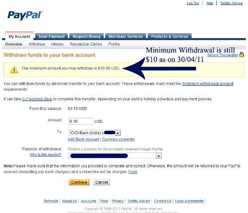 Minimum Withdrawal in Paypal still $10 - Screenshot of Paypal withdrawal page showing minimum withdrawal amount is still $10