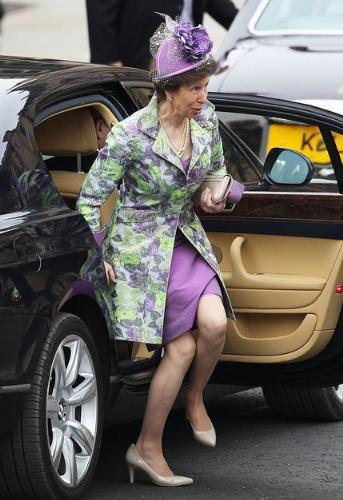 Princess Anne - This was Princess Anne getting out of a car yesterday at Westmister Abbey for her nephew William's wedding. I never thought she ould wear something so colorful!