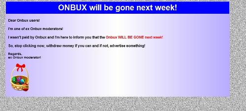 About onbux - onbux is closing site.. some ex moderator is saying this. see image.