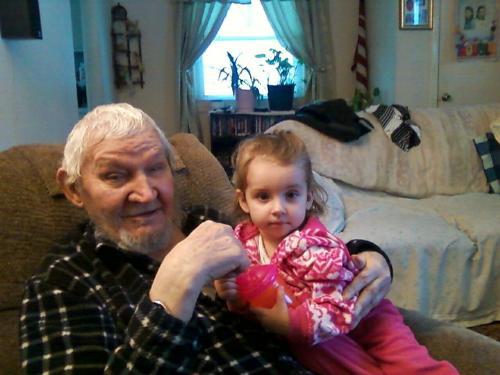 Greatgrandpa and Savanna - My dad with my princess granddaughter, Savanna.