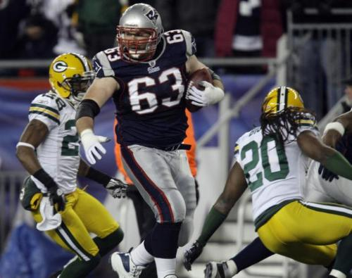 Dan Connolly - When the Packers played the Patriots in december,2010,a kick off was returned over 60 yards by resreve offensive lineman Dan Connolly! It was Unreal!