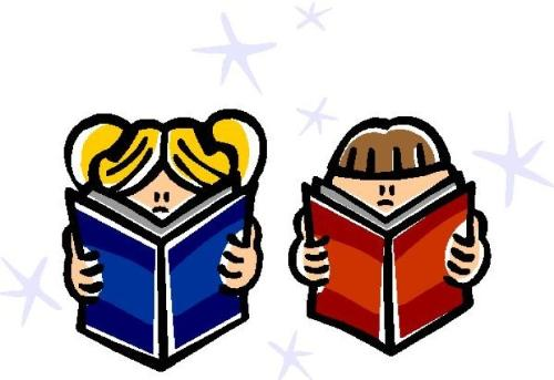 Reading Time - Drawing of two children reading books.