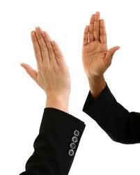 relief and high-fives - high-fives and relief