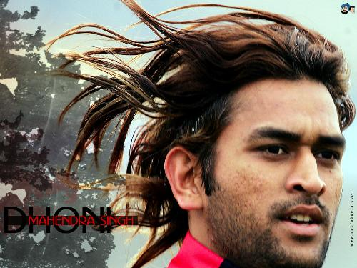 Dhoni's hair - This Picture shows his beautiful hairs long back flying when running.