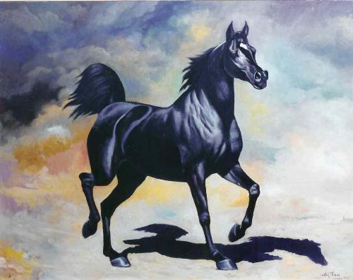 Horse Drawing - Drawing of a black horse.