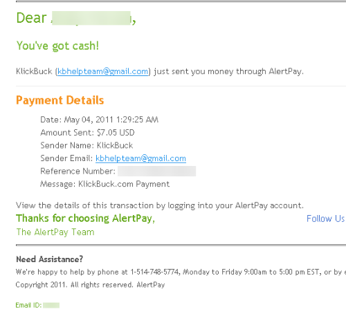 My Klickbuck payment.. - Here is my latest klickbuck payment, nice isn't.....