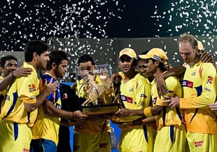Chennai Super Kings with IPL3 trophy - Like this Picture the Chennai Super Kings would also win the IPL4 and b the only team to win this trophy twice.