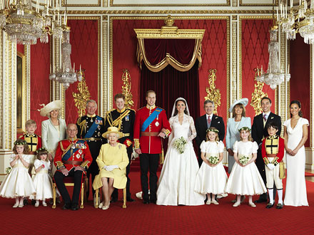 Wedding portriat - The offical portriat from William and Kate's wedding. It shows the whole wedding party along with both sets of parents,Kate's brother James and William's grandparents,the Queen and Prince Philip.