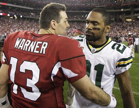 Warner and Woodson - Kurt Warner and Charles Woodson after the January 2010 playoff game which the cardinals won.