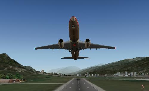 X-Plane B737 Liftoff - X-Plane 9 Demo Version. A Boeing B737 lifts off from runway 26 of Innsbruck Airport.