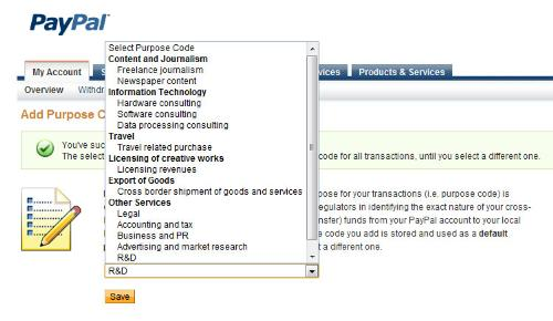 Purpose Code of Paypal - Screenshot showing choices of Purpose for Indian Paypal members