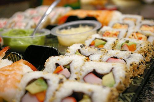 Sushi - Western Sushi which is also called California Rolls.