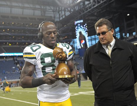 Donald Driver - The Packers wide reciever recieving the annual 'Gobbler' Award for being the 2009 MVP winner in the 2009 Thanksgiving game,Packers/Lions.