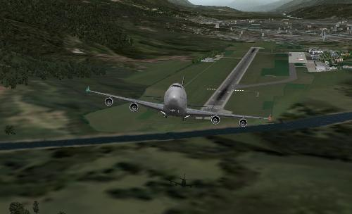 B747 Gear Up - A Boeing 747 while retracting the landing gear soon after takeoff in X-Plane 9