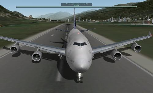 Boeing 747, X-Plane 9 - A Boeing 747 on the runway. Picture taken from X-Plane 9.
