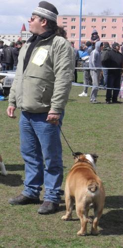 Dog and owner look alike - Waiting to enter the show ring at CAC Brasov 2011