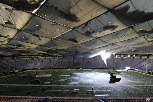 Inside the Metro dome - Tis si what the Metro Dome roof looked like inside after the roof callapsed! Now this is funny! They are currently fixing the roof. The Vikings have no chose! They really need a new stadium but they needed one a few years ago,allready!