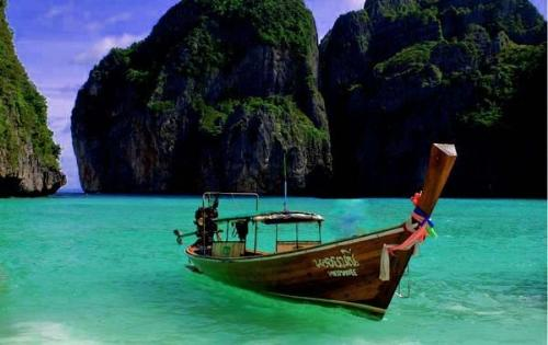 Maya Bay Thailand - This is where the movie 'The Beach' was filmed. It had been altered and enhanced a bit for the movie, but this is the location.