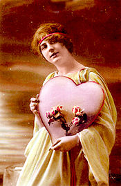 Pink Heart - A big pink heart on a early 1900's Valentine's Day card.