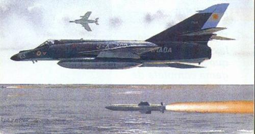 Super Etendard fighting - this is an image of two argentinian Super Etendards attacking the Atlantic Conveyor in the Malvinas War.