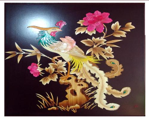 Chinese tradition art work----straw painting - It's look so beautiful,it is a straw painting,The picture is made of straw.