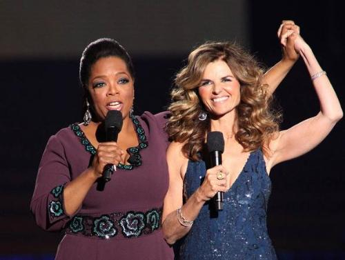 Oprah and Maria - MAria Shriver made an appearance at Oprah's sed off. They are good friends.