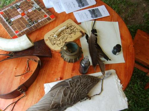 Items used in Medieval times - There are games, drinking horn, and even ink and quills of course with parchment paper.
