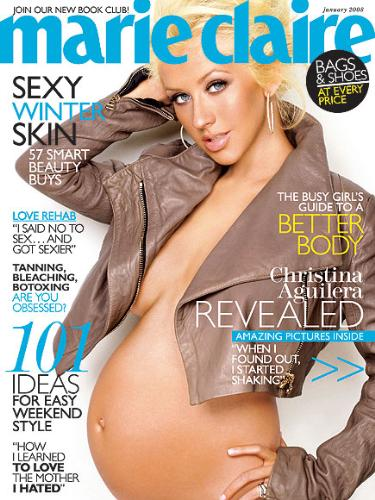Christina Aguliera - Christina posed on 'MArie Claire' magazine while pregnant with son Max.