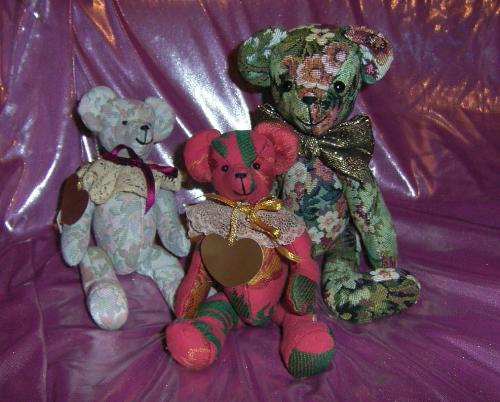 3 Tapaestry Teddy bears -  3 artist made, jointed tapestry style fabric Teddy Bears