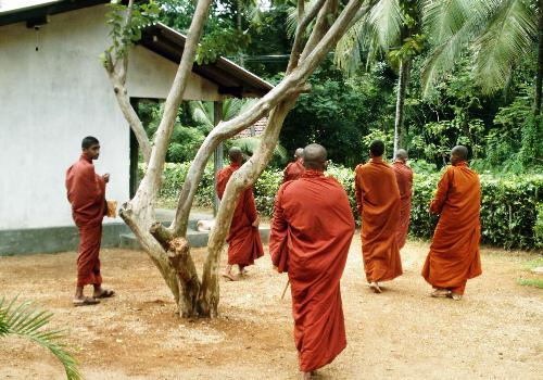 buddhist monks - Buddhist monks leaving after armsgiving