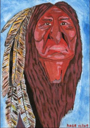 Native American Shaman - Entitled 'The Guardian' this A4 (30cm x 21cm) sized acrylic painting has just gone on sale at ebay. Interesting stuff that there is no limit or reserve on an original painting.  For collectors of this stuff it would be worthwhile going to have look and bidding - i think this may go real cheap!  Check it out!  search for Native American Art then scroll down and you'll find his portrait :-)))
