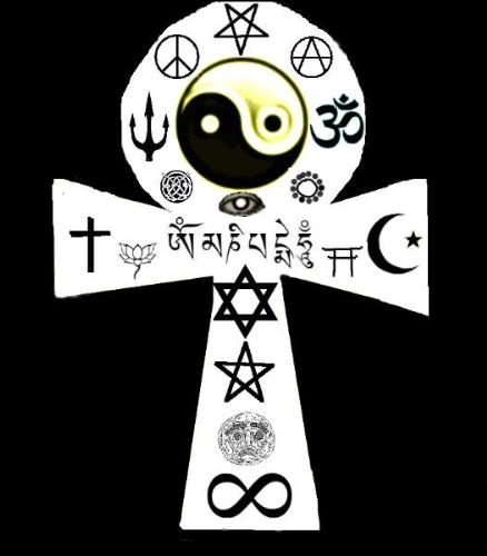 The Golden Cleric's Ankh - A new symbol to remind us we are all one race, one people. Our religions need not seperate us. Our belief in those religions can be a unifying force. The mere existence of our myriad religions is proof of our commonality in seeking answers from this universe of ours.